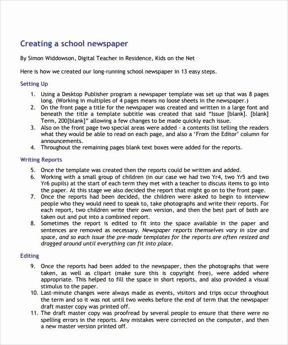 6 School Newspaper Samples