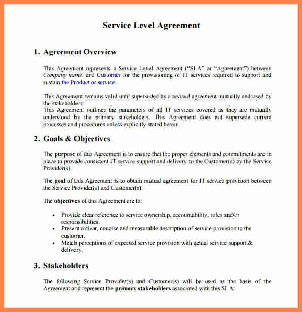 6 Service Level Agreement Template for It Support