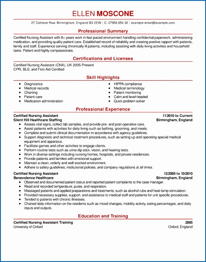 show a resume sample chtns