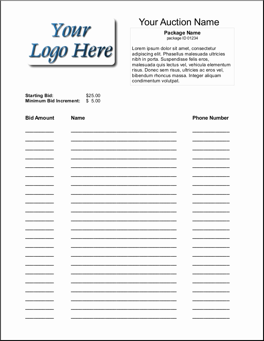 6 Silent Auction Bid Sheet Templates formats Examples In