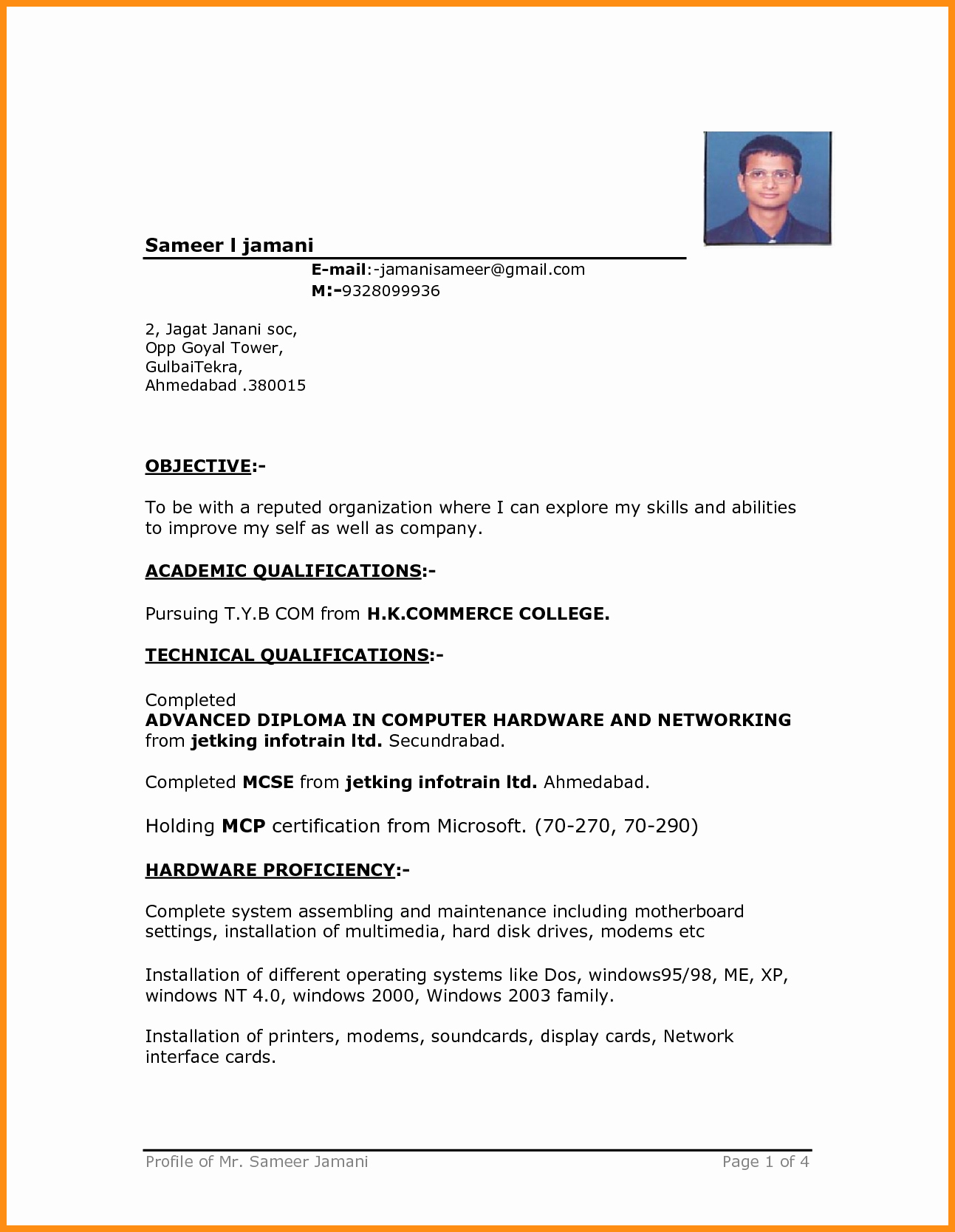 6 simple resume format in ms word