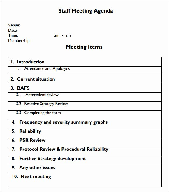 6 Staff Meeting Agenda Samples