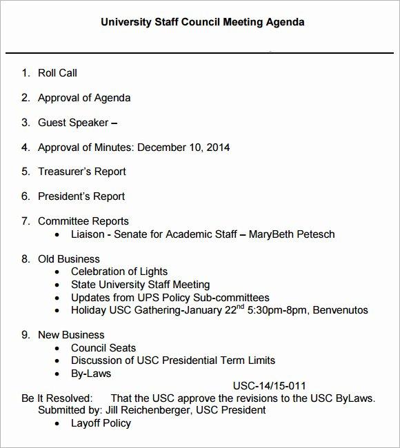 6 Staff Meeting Agenda Samples