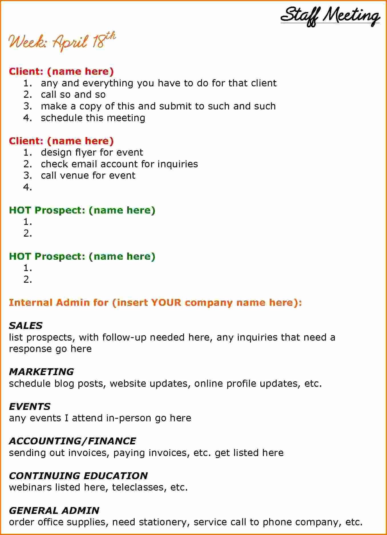 6 Staff Meeting Agenda Template