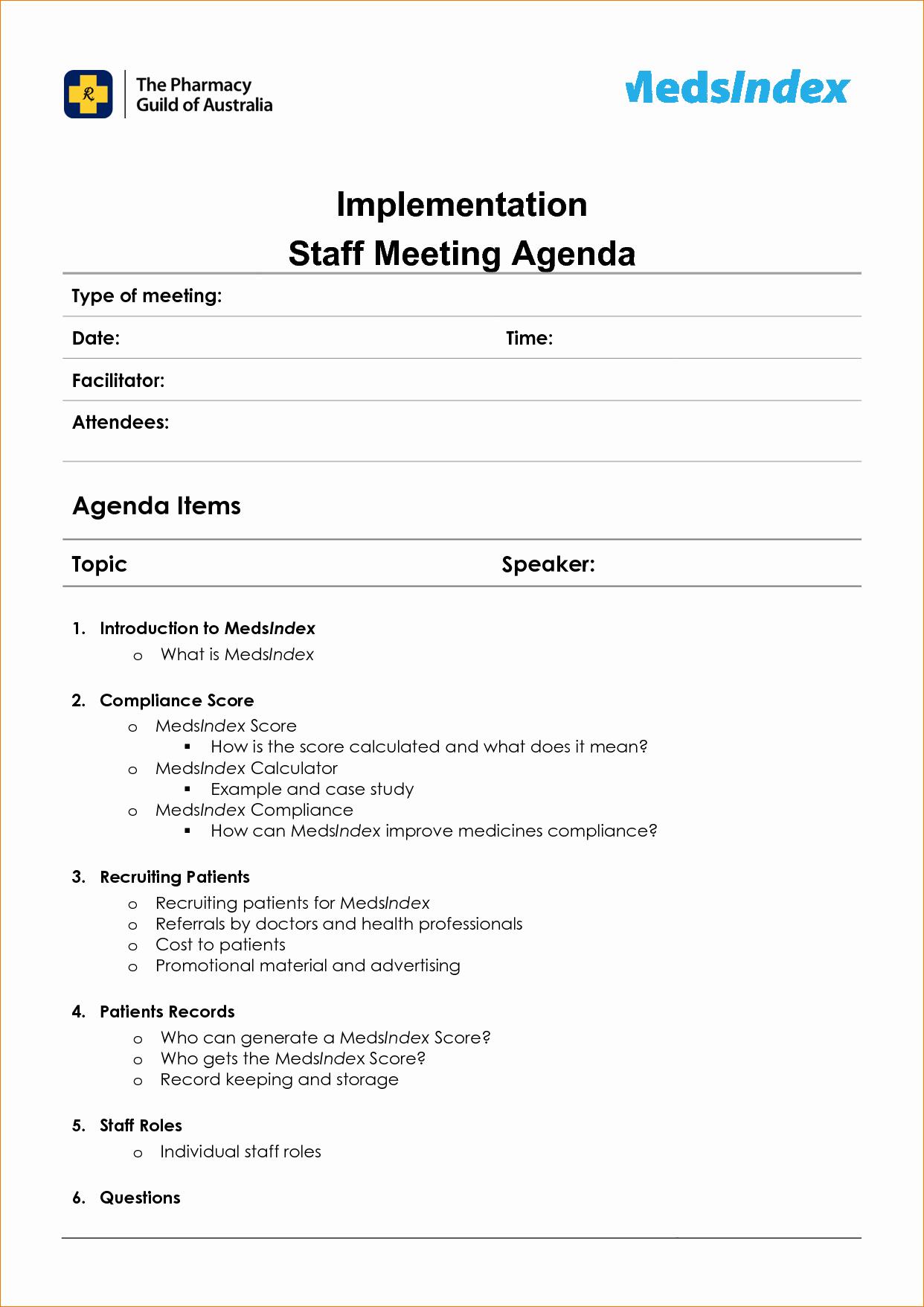 6 Staff Meeting Agenda Templateagenda Template Sample
