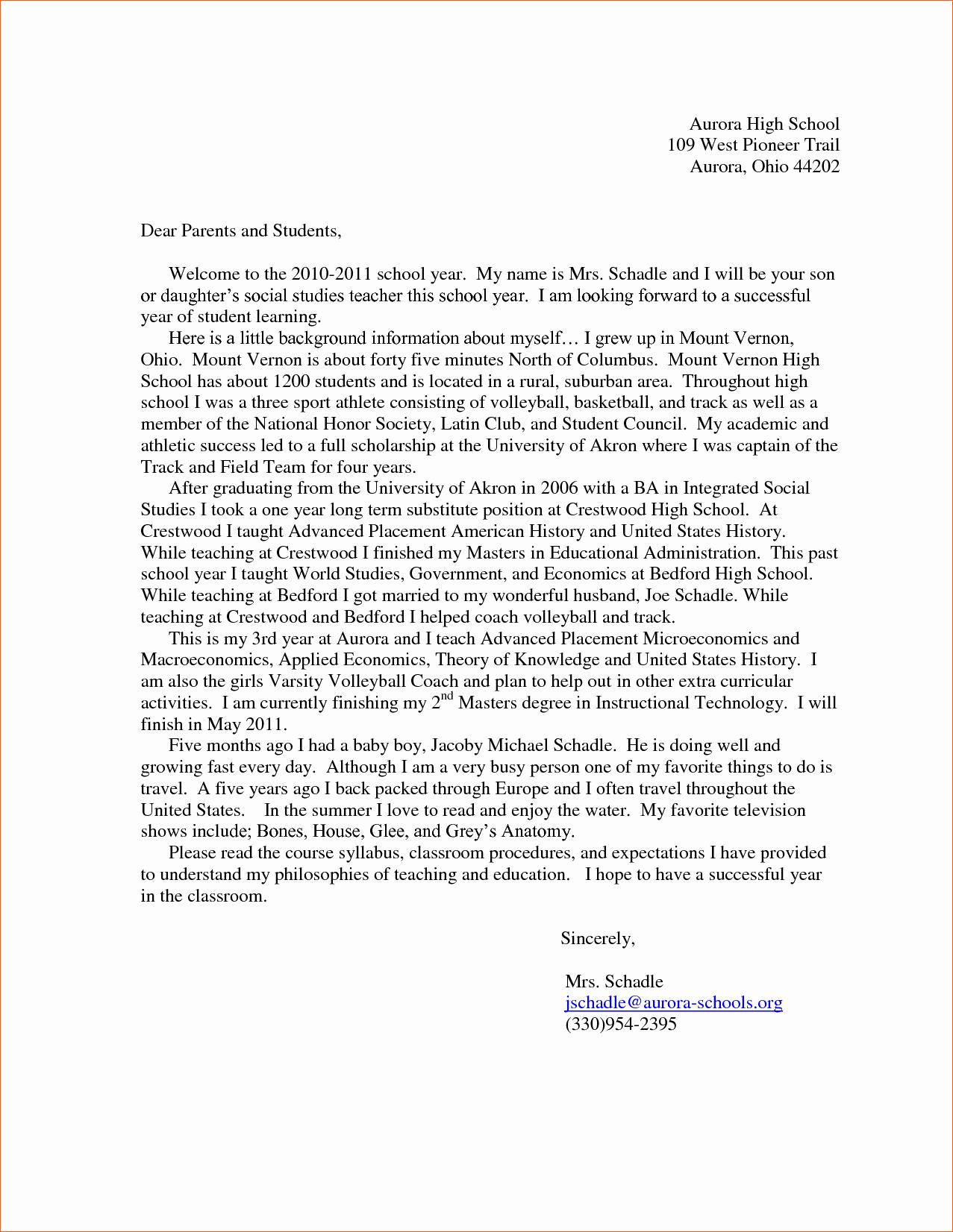 6 Teacher Introduction Letter to Parents
