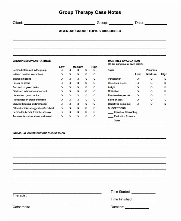 6 therapy Notes Templates