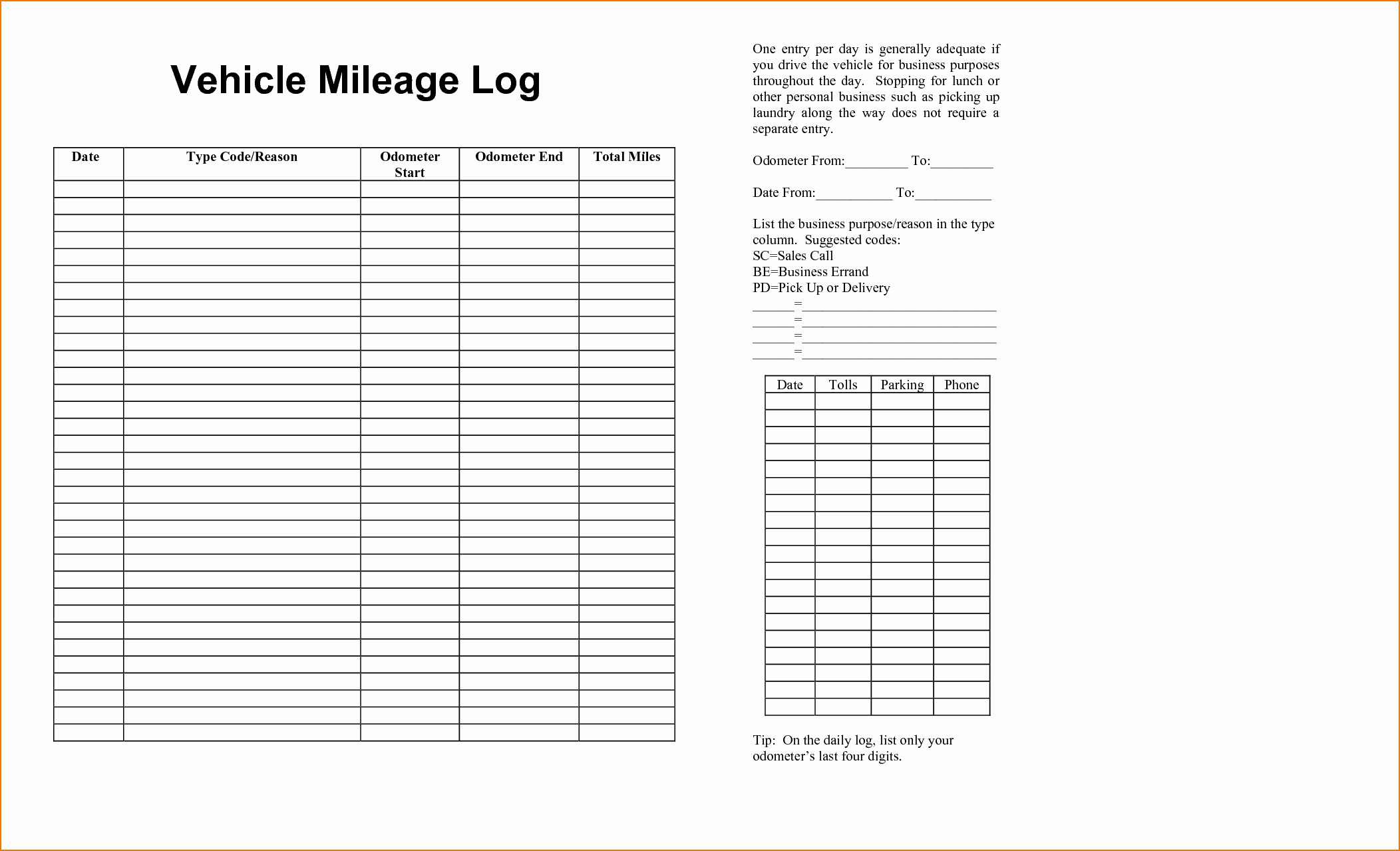 6 Vehicle Mileage Log