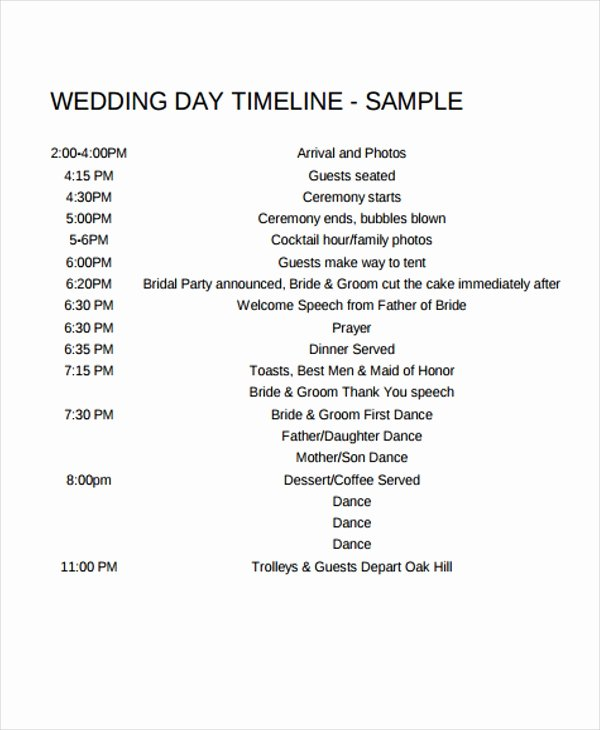 6 Wedding Day Timeline Templates Free Samples Examples