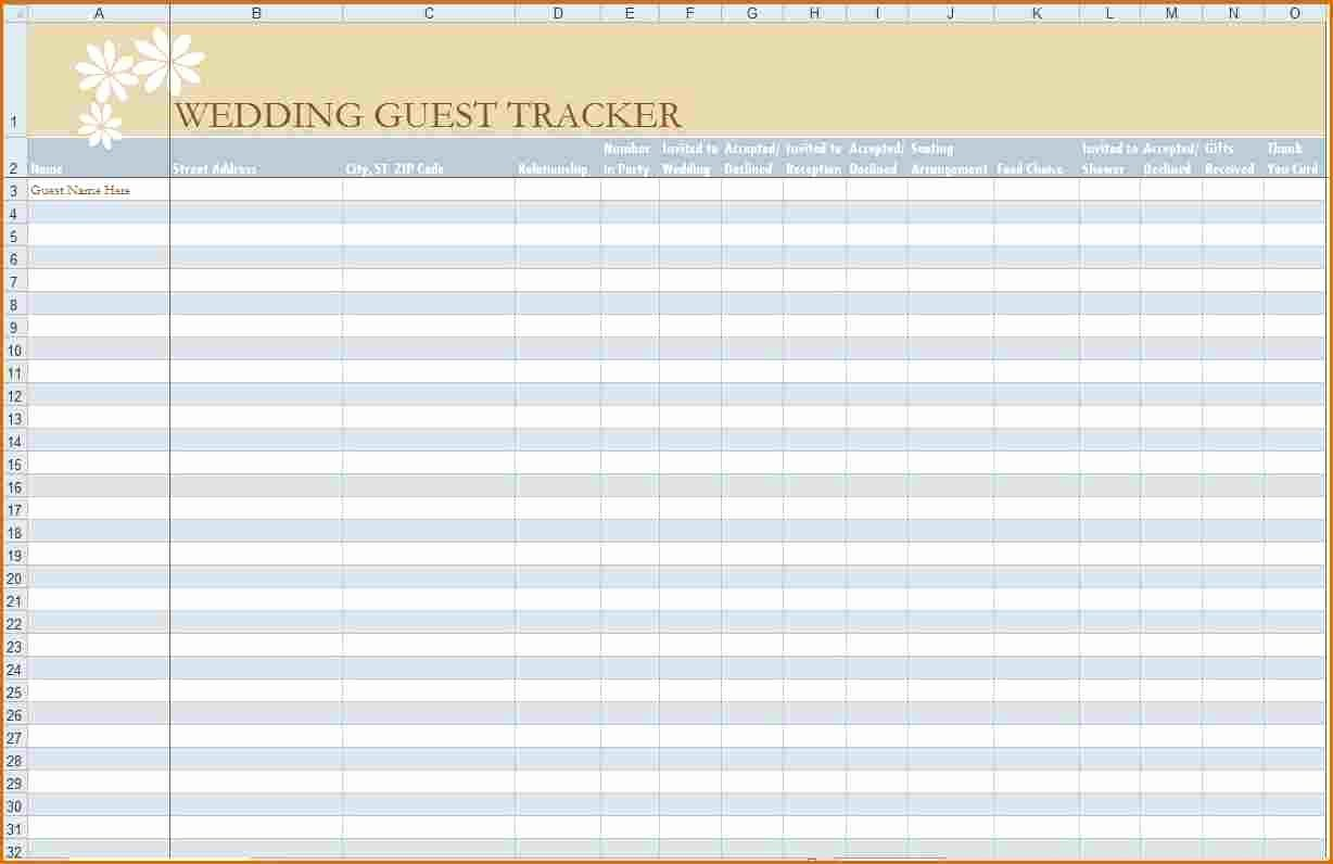 6 Wedding Guest List Printable