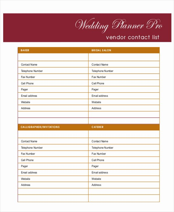 6 Wedding Planner Printable Samples
