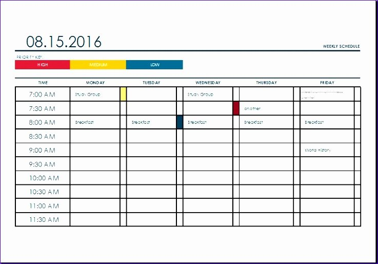 6 Weekly Task Planning Calendar Exceltemplates