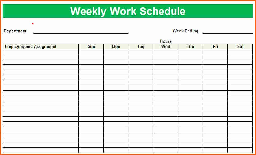 6 Weekly Work Schedule Template Excel Bud Template