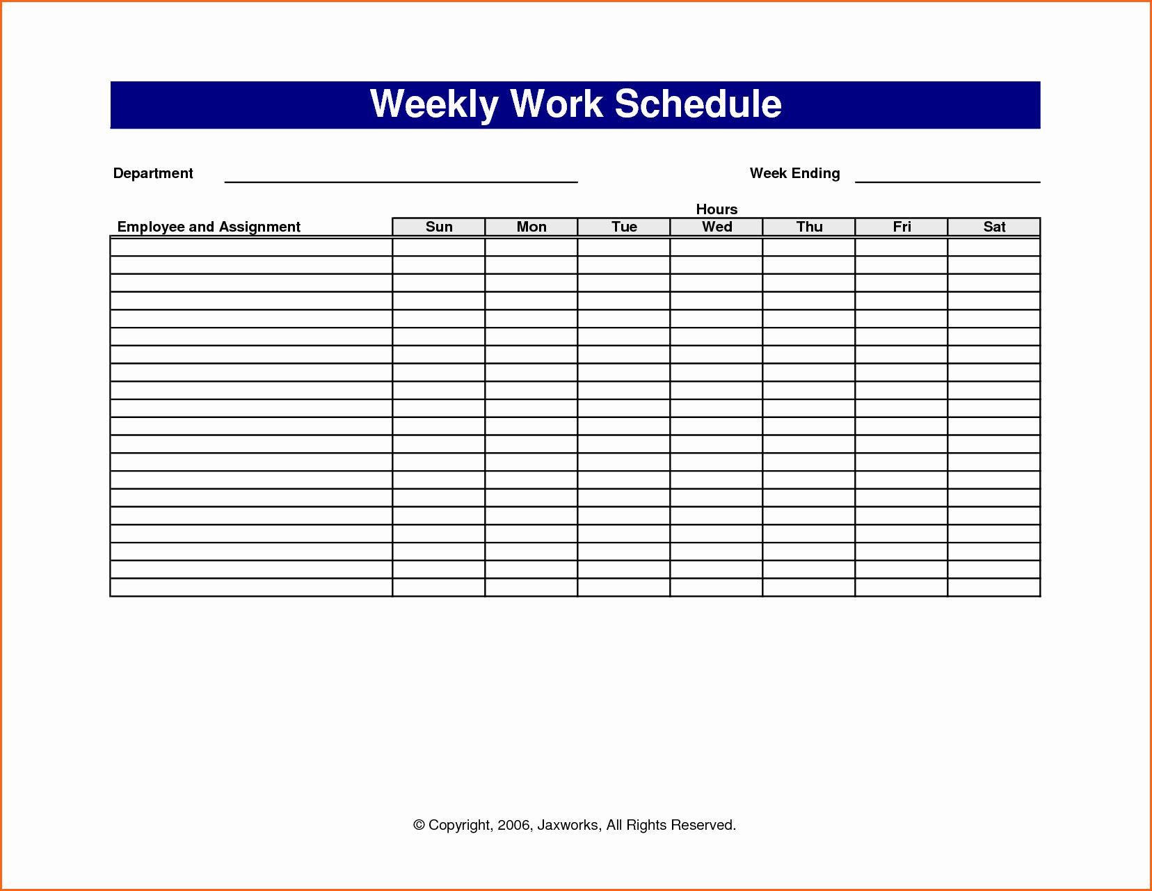 6 Weekly Work Schedule Template Excel Bud Template