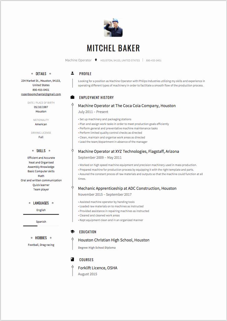 6 X Machine Operator Resume Sample