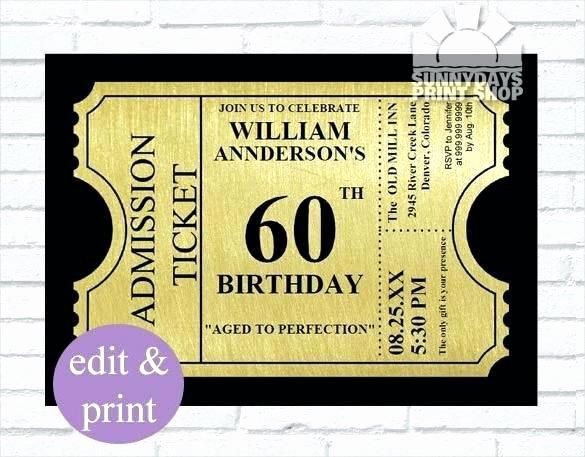 60 Birthday Invitations Templates Luxury Design 60th