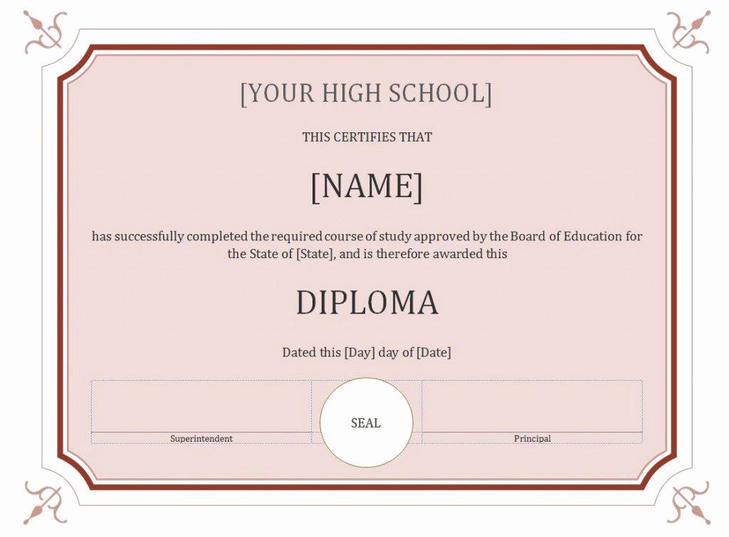 60 Free High School Diploma Template Printable