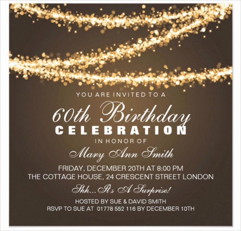 60th Birthday Invitation Card Template Free Download