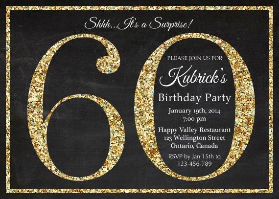 60th Birthday Invitation Gold Glitter Birthday Party