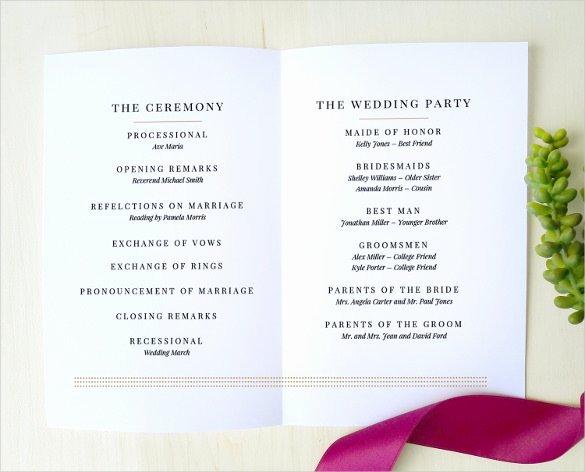 67 Wedding Program Template Free Word Pdf Psd