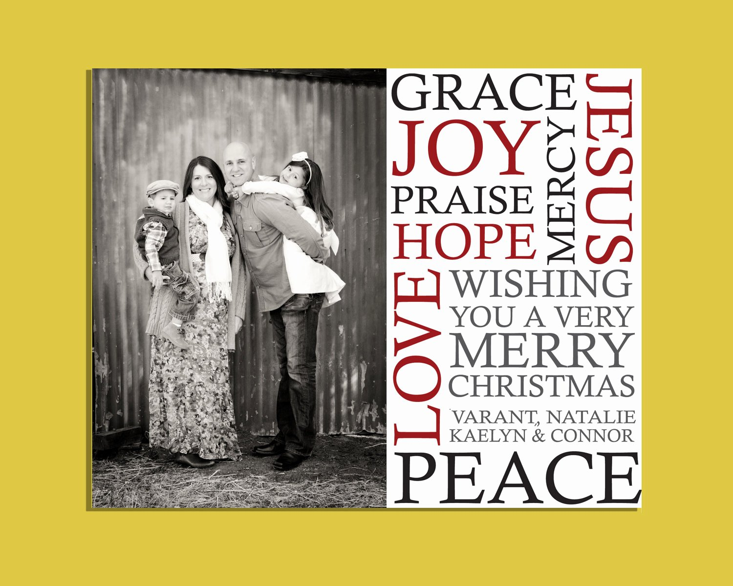 6x7 5 Subway Christmas Card Template Shop Sized for