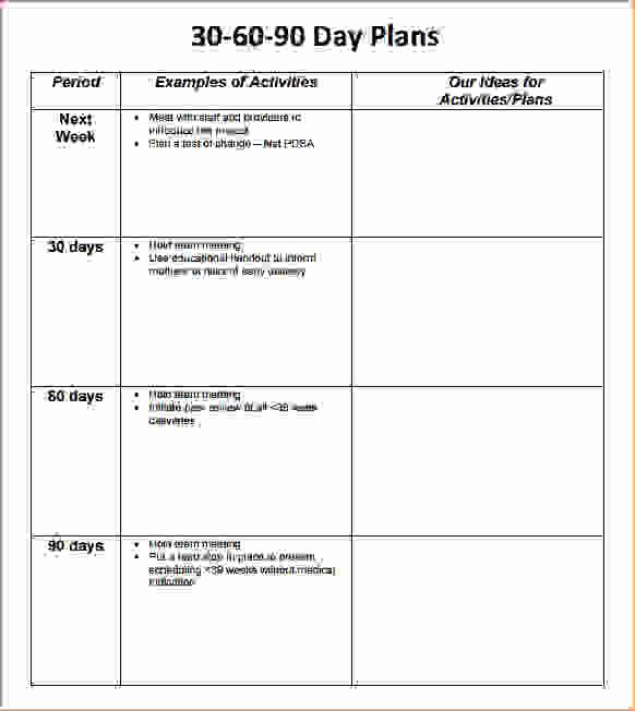 7 30 60 90 Day Plan Templatereport Template Document