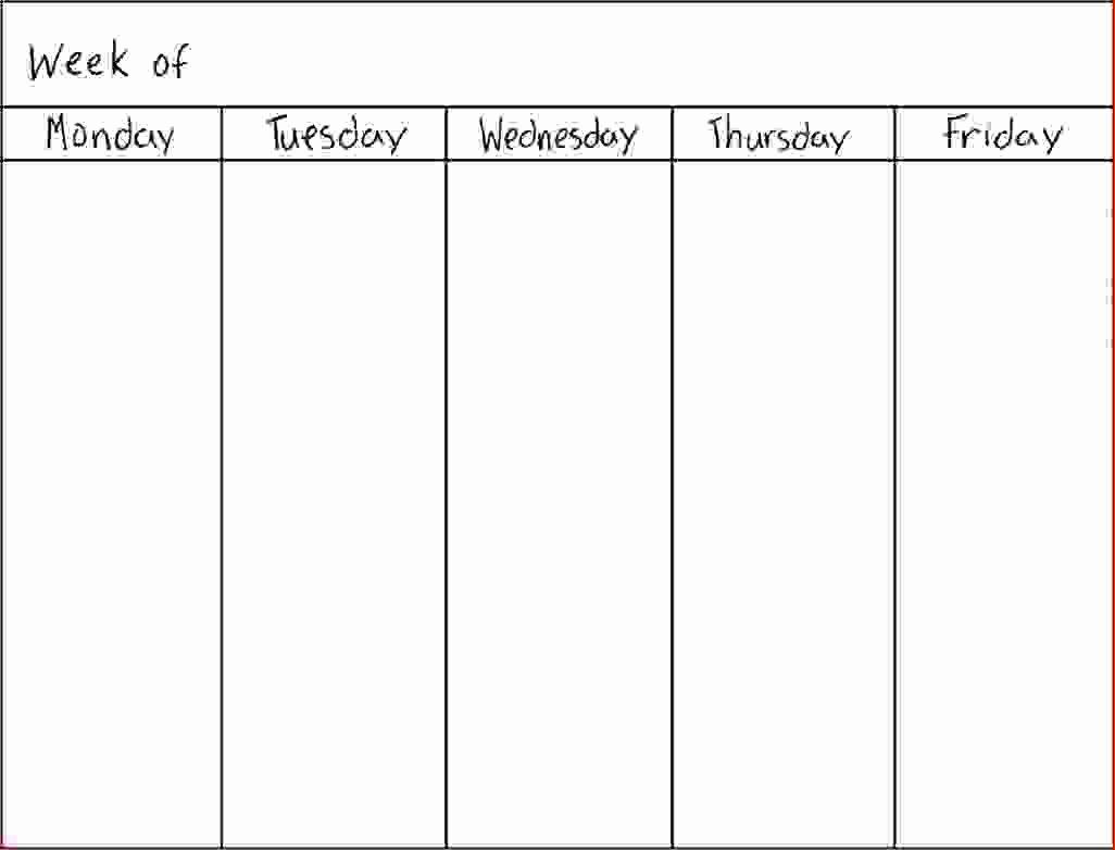 7 5 Day Calendar Template