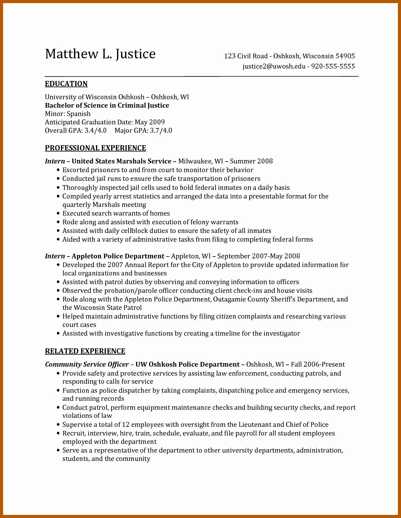 7 8 criminal justice resume