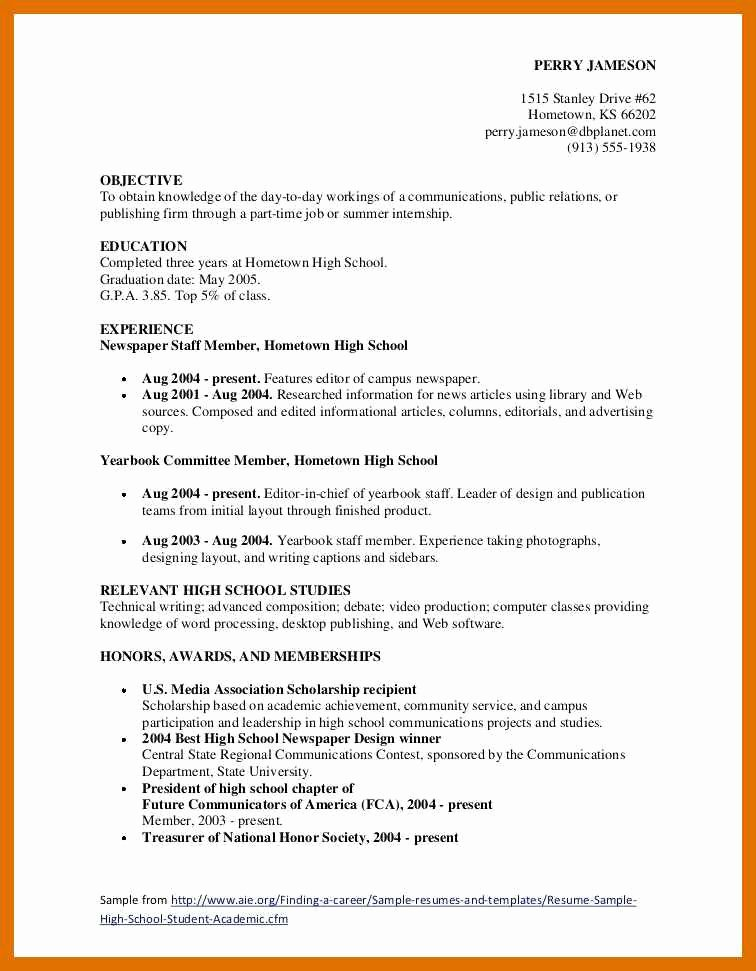 7 8 Resume Objective Examples for Teenagers