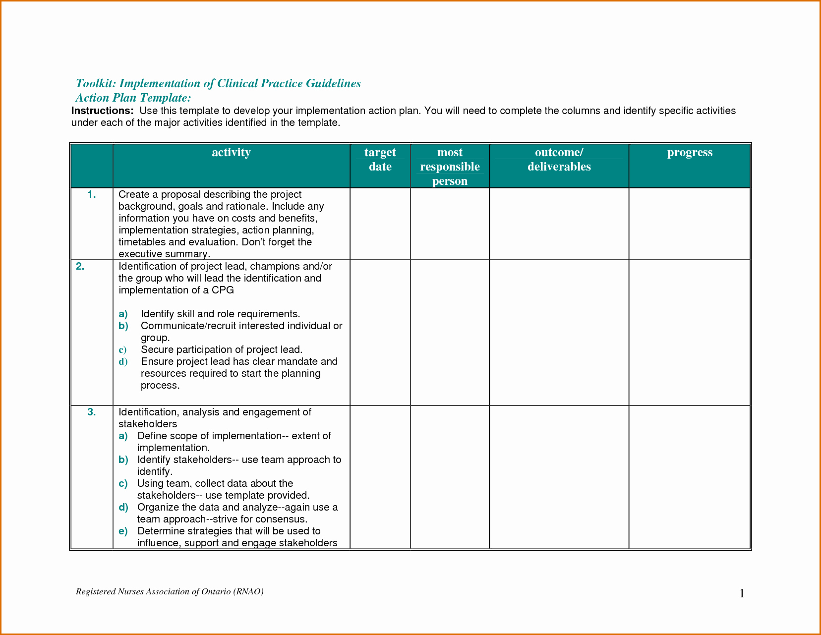 7 Action Plan Template Word