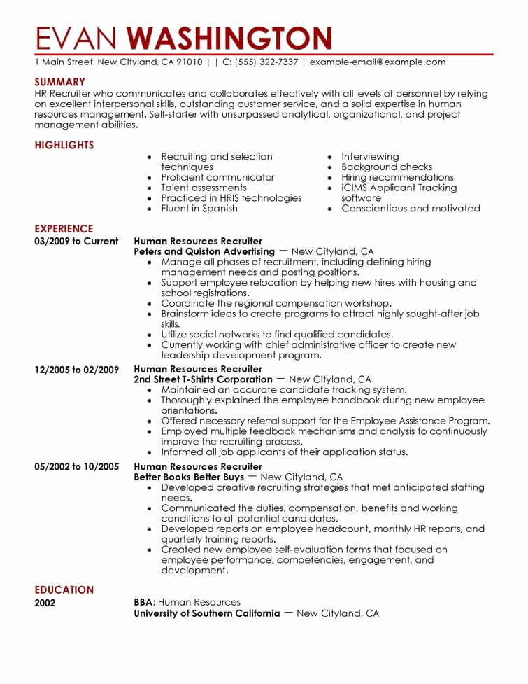 7 Amazing Human Resources Resume Examples