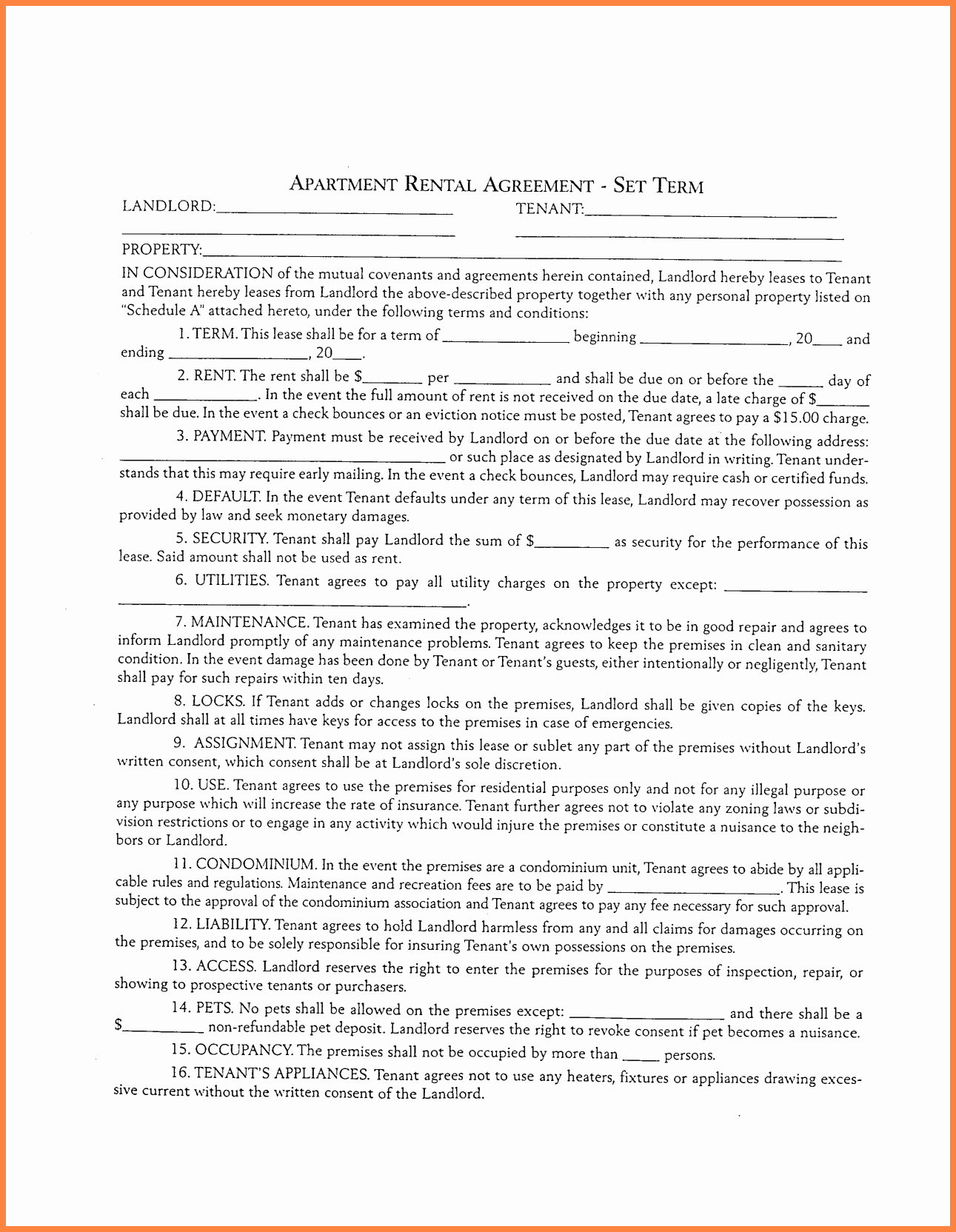 7 Apartment Rental Agreement Template Word
