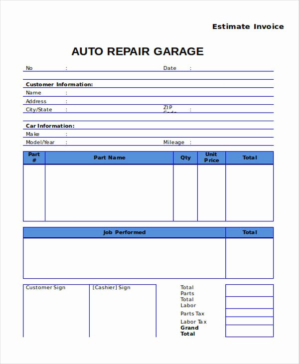 7 Auto Repair Invoice Templates – Free Sample Example