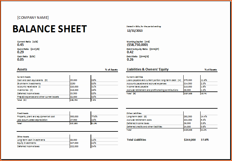 7 Balance Sheet Template Excel Bookletemplate