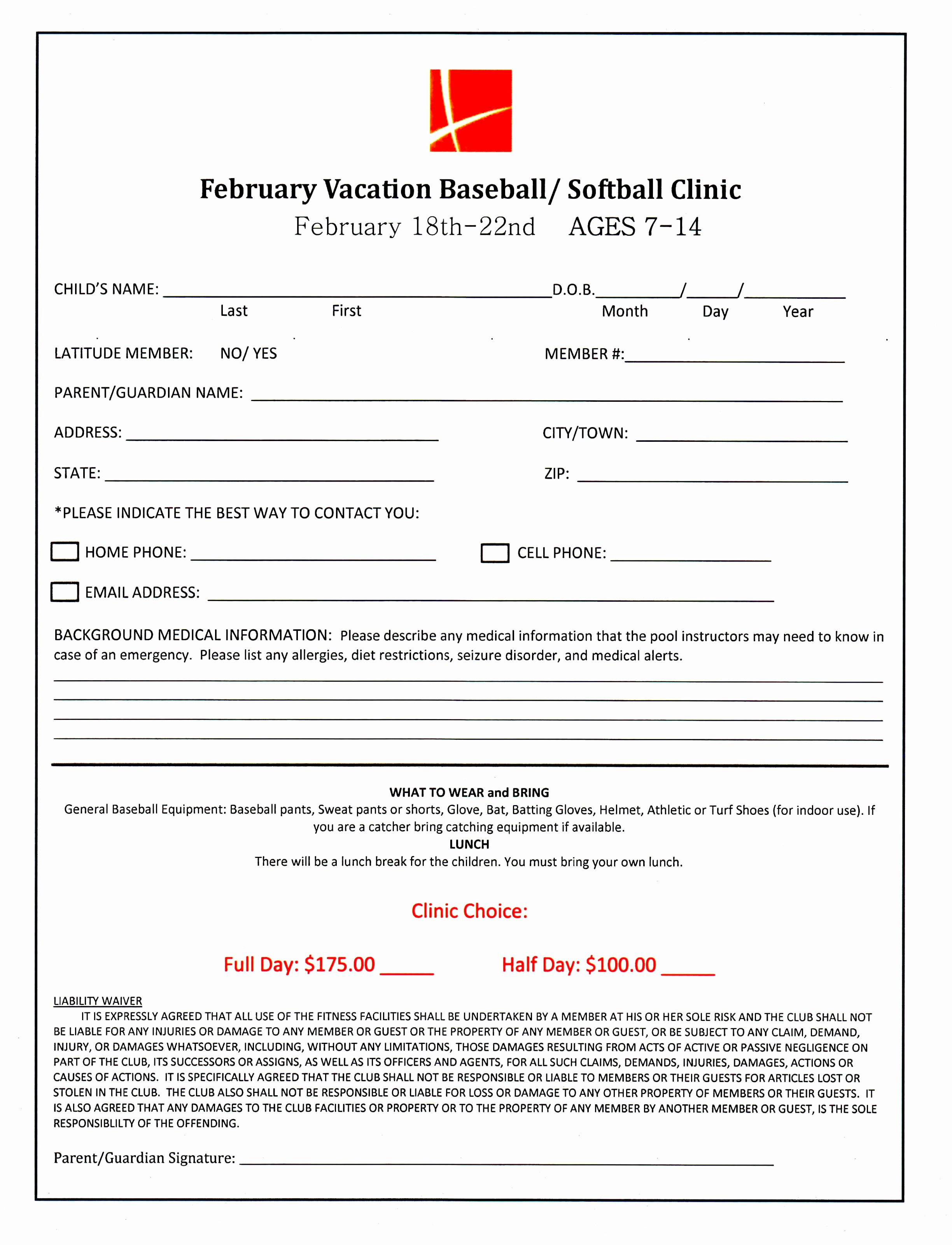 7 Baseball Registration form Template Piuur