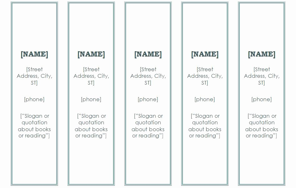 7 Best Of Blank Bookmark Template for Word Free