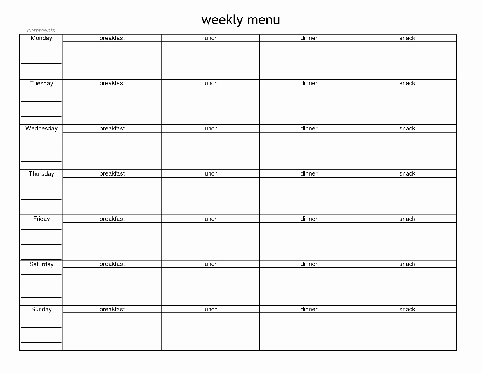 7 Best Of Blank Meal Planner Sheet Printable Free