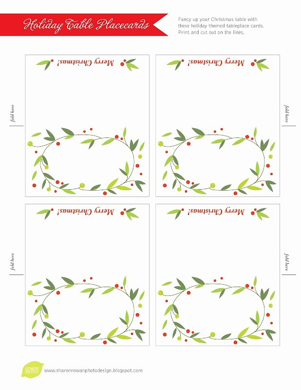 7 Best Of Christmas Place Cards Template Dinner