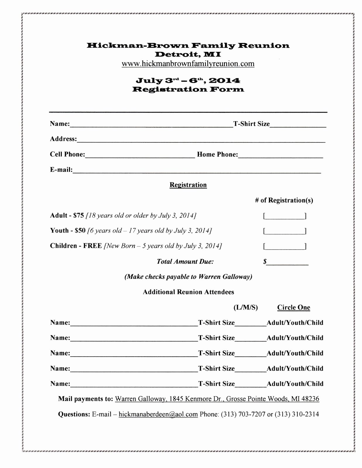 7 Best Of Family Reunion forms Printable Free