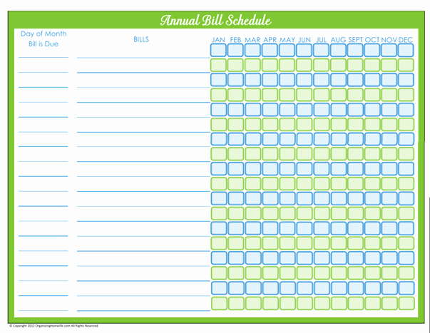 7 Best Of Free Printable Annual Bill organizer