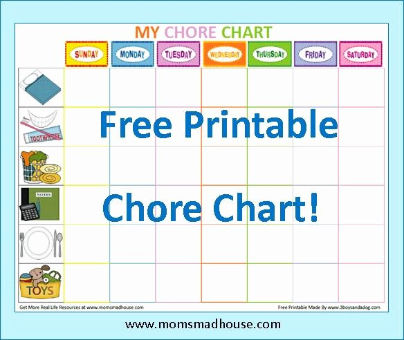 7 Best Of Free Printable Chore Charts Blank