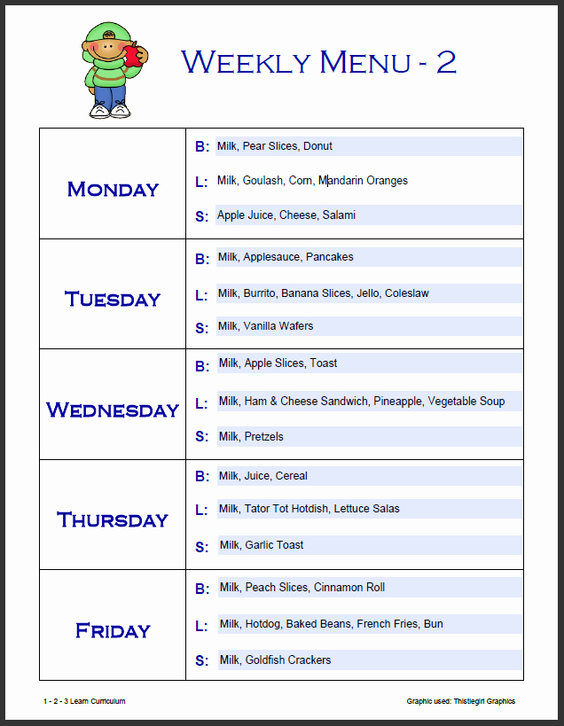 7 Best Of Free Printable Day Care Weekly Menu
