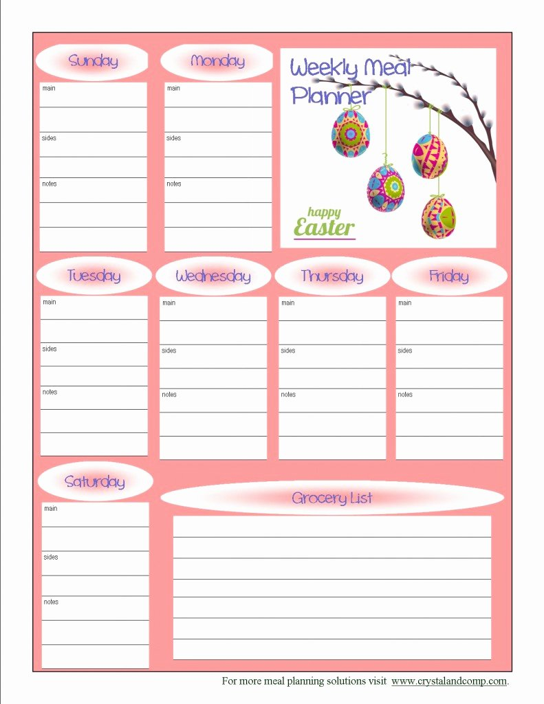7 Best Of Free Printable Meal Planner Template