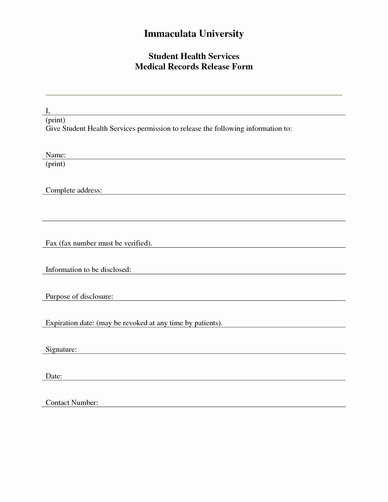 7 Best Of Free Printable Medical Release form