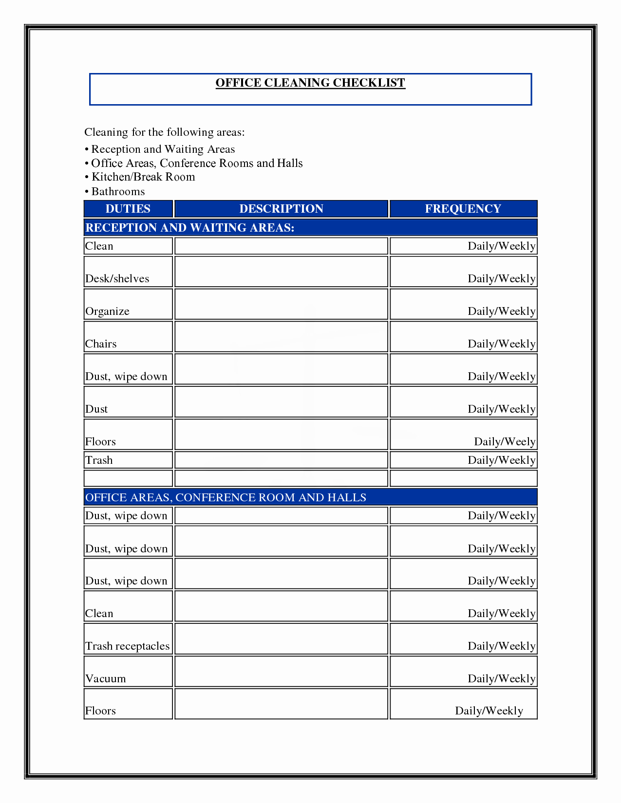 7 Best Of Mercial Cleaning Checklist Printable