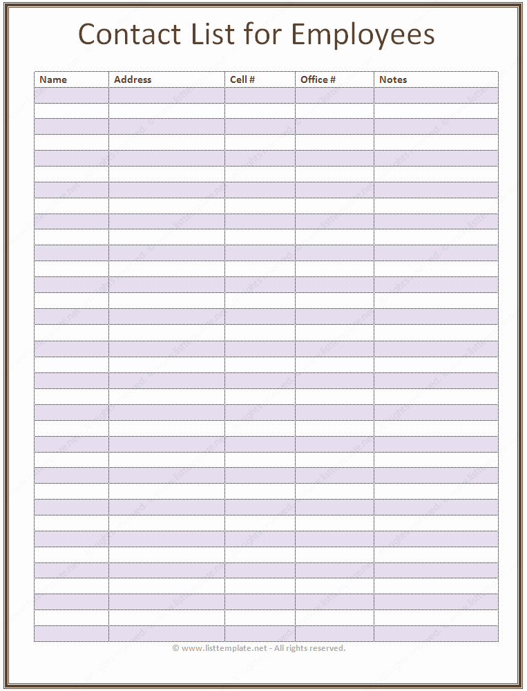 7 Best Of Phone List Template Printable Printable