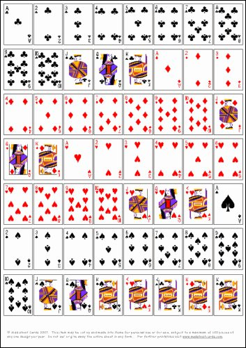 7 Best Of Playing Card Printable Templates