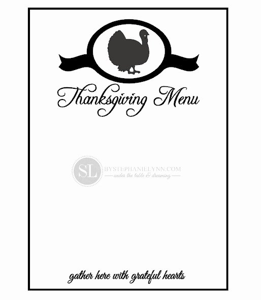 7 Best Of Printable Blank Thanksgiving Menu