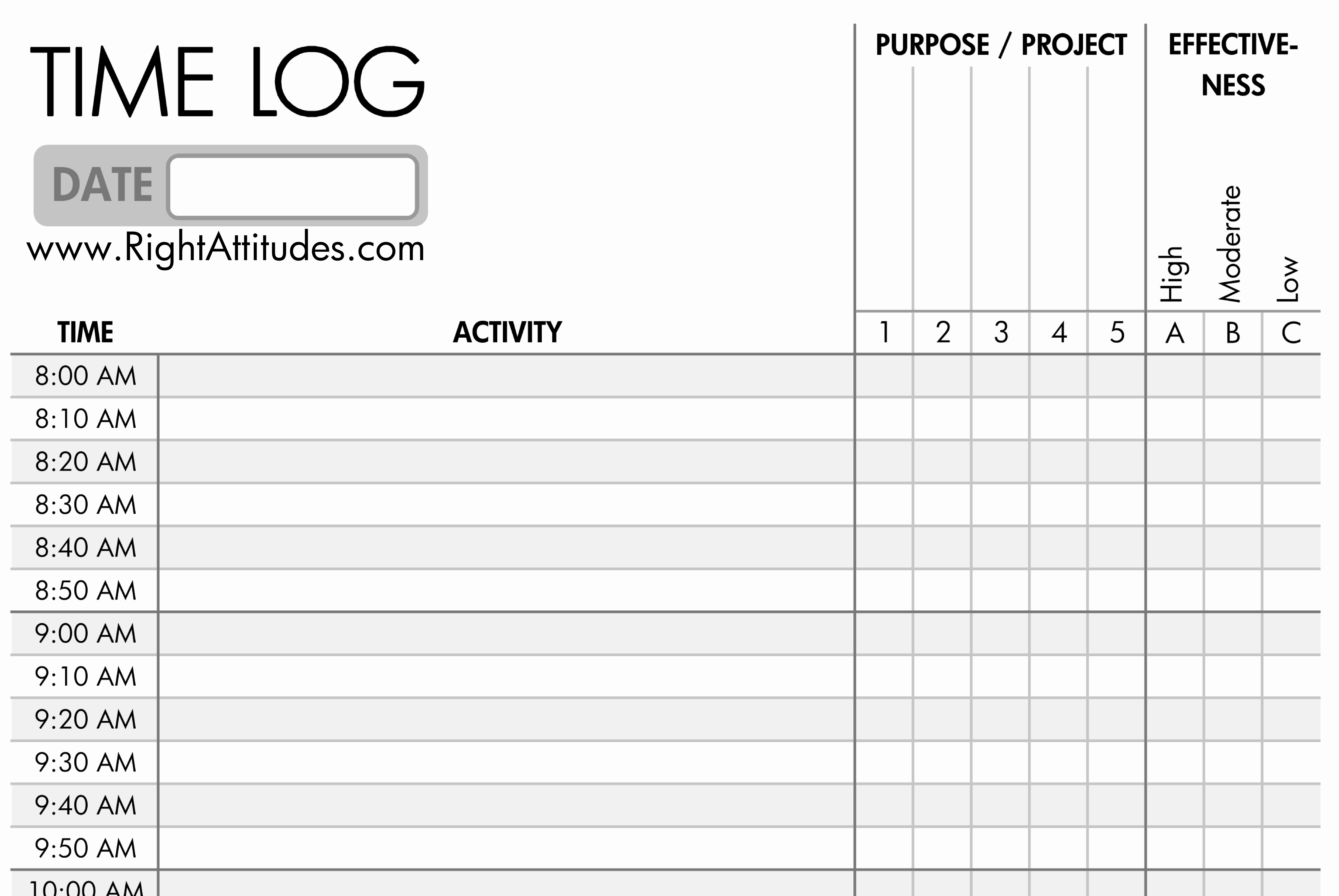 7 Best Of Printable Daily Time Log Daily Work Log