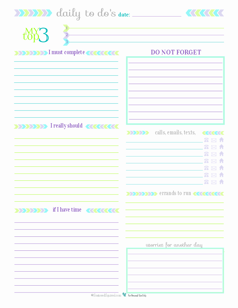 7 Best Of Printable Daily to Do List for Work